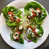 Spicy Shrimp Taco Lettuce Wraps (with crema sauce)